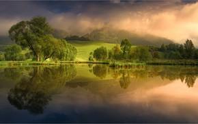 Картинка небо, вода, горы, природа, озеро, рассвет, Friedrich Beren