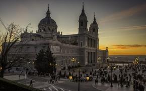 Картинка город, вечер, Испания, Madrid, Мадрид, Catedral de la Almudena