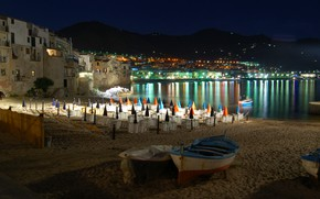 Картинка ночь, огни, Италия, Сицилия, Чефалу