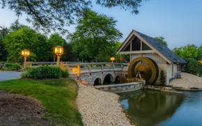 Картинка пейзаж, мост, река, мельница