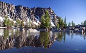 Картинка небо, пейзаж, природа, озеро, отражение, гора, красота