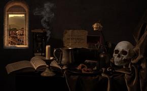 Картинка стиль, ноты, темный фон, стол, дым, роза, череп, свеча, окно, посуда, ткань, шкатулка, натюрморт, тетрадь, …