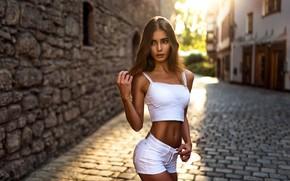 Картинка взгляд, девушка, солнце, фото, улица, волосы, фигура, Sara Tessitore, Miro hofmann