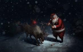 Картинка Зима, Ночь, Снег, Юмор, Рождество, Пиво, Снежинки, Фон, Новый год, Устал, Праздник, Санта Клаус, Арт, …
