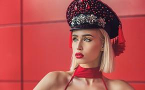 Картинка девушка, лицо, стиль, стрижка, портрет, макияж, стразы, плечи, фуражка, Анастасия Селора