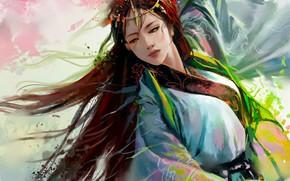 Картинка танец, китаянка, украшение, длинные волосы, art, Hannah Jones