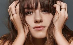 Картинка взгляд, девушка, лицо, кольца, Daisy Edgar Jones