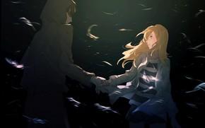 Картинка девушка, ночь, парень, Ангел кровопролития, Satsuriku no Tenshi, Зак