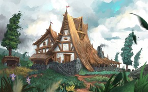 Картинка wall, house, grass, sky, trees, nature, art, flowers, clouds, pathway, plants, chalet, illustration, Jeremy Adams