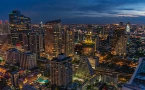 Картинка ночь, город, здания, Таиланд, Тайланд, Бангкок, городской пейзаж