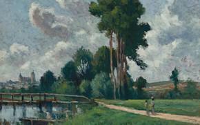 Картинка картина, 1900, Максимильен Люс, Maximilien Luce, Осер. Речной Пейзаж