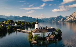 Картинка горы, остров, Австрия, церковь, водоем, озеро Траунзе
