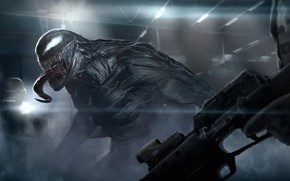 Картинка оружие, арт, солдаты, Веном, Venom, симбиот