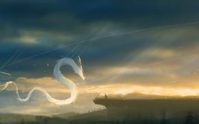 Картинка небо, природа, дракон, человек, фэнтези