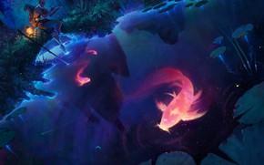 Картинка вода, ночь, человек, рыба, дух, арт, Fantasy, art, лист кувшинки, дух воды