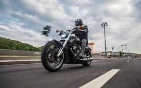 Картинка Дорога, Город, Мотоцикл