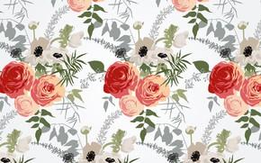 Картинка цветы, фон, текстура, pattern, Floral