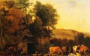 Картинка картина, Паулюс Поттер, Пейзаж с Коровами и Овцами, Paulus Pieterszoon Potter
