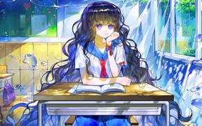 Картинка вода, жидкость, девочка, сидит