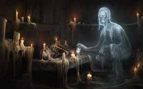 Картинка комната, свечи, призрак, старец
