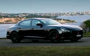 Картинка Maserati, Quattroporte, вечер, Австралия, 2018, GTS, AU-spec, GranSport, Nerissimo Edition