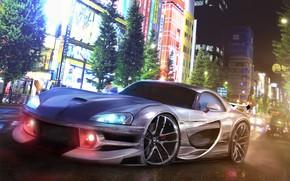 Картинка Авто, Город, Машина, Dodge, Арт, Viper, Dodge Viper, Суперкар, Рендеринг, SRT10, Dodge Viper SRT10, Redz …