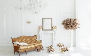 Картинка цветы, комната, диван, камин, vintage, design, pink, flowers, пионы, room, interior, sofa, fireplace, peonies, provance