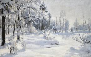 Картинка снег, зимняя природа, 1918, WINTER LANDSCAPE, Andrei Nikolaevich Shilder