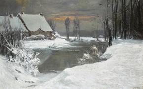 Картинка снег, деревья, закат, птицы, дом, река, кусты, WINTER LANDSCAPE, Attributed to Ivan Avgustovich Veltz