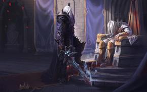 Картинка Король, WOW, Lich King, Warcraft, Blizzard, Paladin, Arthas, Frostmourne, Артас, Illustration, Characters, WarCraft 3, Король-лич, …