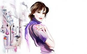 Картинка улица, женщина, рисунок, белый фон, вывески, sexy, woman, street, сексуальная, drawing, white background, signage