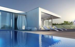 Картинка вилла, интерьер, бассейн, терраса, экстерьер, Exterior of modern house