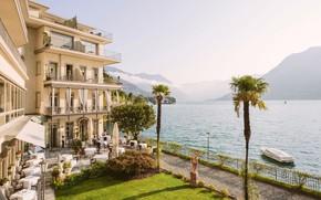 Картинка озеро, пальмы, вилла, Италия, отель, Комо, Villa Flori