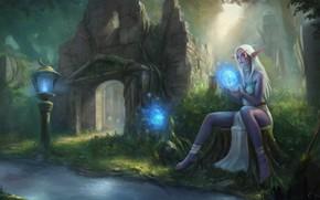 Обои лес, девушка, эльф, World of Warcraft, Warcraft, wow, art
