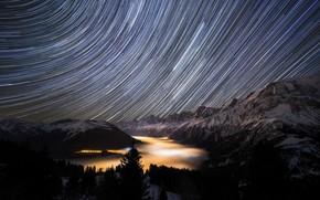 Обои горы, ночь, звёзды