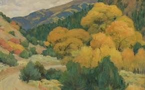 Картинка осень, деревья, картина, Joseph Henry Sharp, Джозеф Генри Шарп, Пейзаж возле Таоса