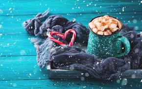 Картинка зима, горячий, шоколад, шарф, конфеты, поднос, зефир