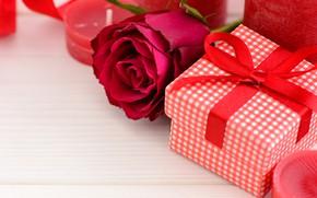 Картинка любовь, подарок, розы, свечи, красные, red, love, flowers, romantic, hearts, valentine's day, roses, gift box