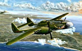 Картинка тяжелый, USAF, Black Widow, ночной истребитель, WWII, P-61A, 6th NFS