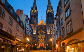 Картинка город, улица, дома, вечер, собор, Clermont-Ferrand, Puy-De-Dome Department