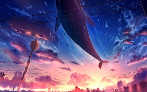 Картинка небо, город, фэнтези, кит