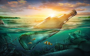 Картинка море, рыбки, мусор, океан, бутылка, загрязнение, sea, ocean, fish, bottle