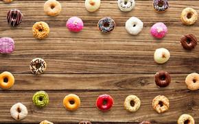 Картинка фон, дерево, сладости, пончики