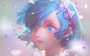 Картинка девушка, лепестки, голубые волосы, Rem, Re:Zero kara Hajimeru Isekai Seikatsu