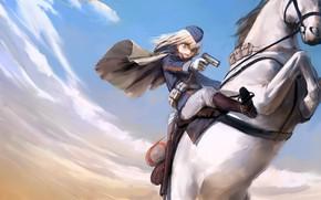 Картинка девушка, оружие, лошадь