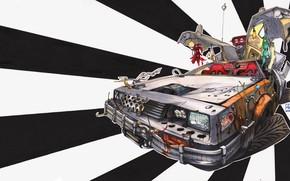 Картинка Рисунок, Машина, DeLorean DMC-12, Art, DMC-12, Illustration, Delorean, Back to the future, Transport & Vehicles, …