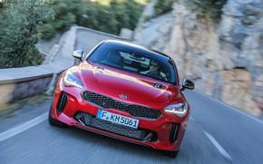 Картинка красный, вид спереди, Kia, пятидверный, Stinger, Stinger GT, фастбэк