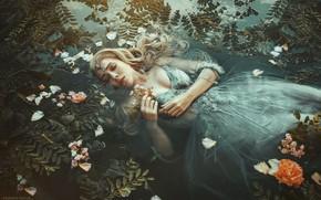 Картинка листья, вода, девушка, цветы, поза, настроение, ситуация, руки, макияж, платье, закрытые глаза, Marketa Novak, Tereza …