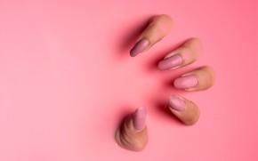 Картинка рука, пальцы, розовые, жест, розовый фон, ногти, длинные, хищница, накрашенные, женская рука, розовая субстанция, нарощенные