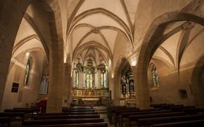 Картинка интерьер, interior, Аверон, Aveyron, Эглиз д'Эстен, Церковь Сен-Флёре в Эстене, The Church of Saint Fleuret …